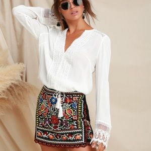Lulus Don't stop the party embroidered mini skirt